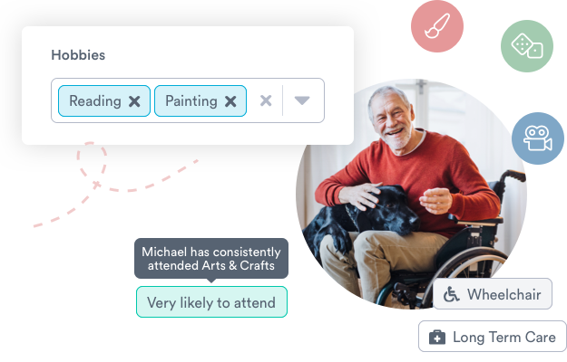 Older man in a wheelchair with dog on lap surrounding by floating Welbi features