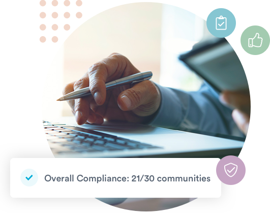 Graphic showing how Welbi tracks compliance in real-time