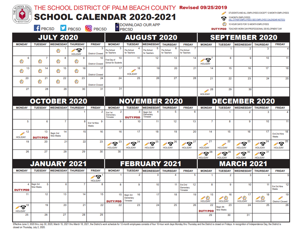 Palm Beach School Calendar July 2019 - March 2020