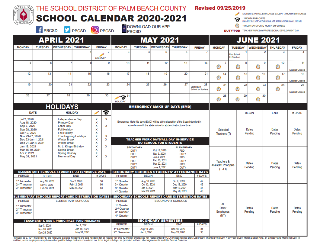 Palm Beach School Calendar April - June 2020