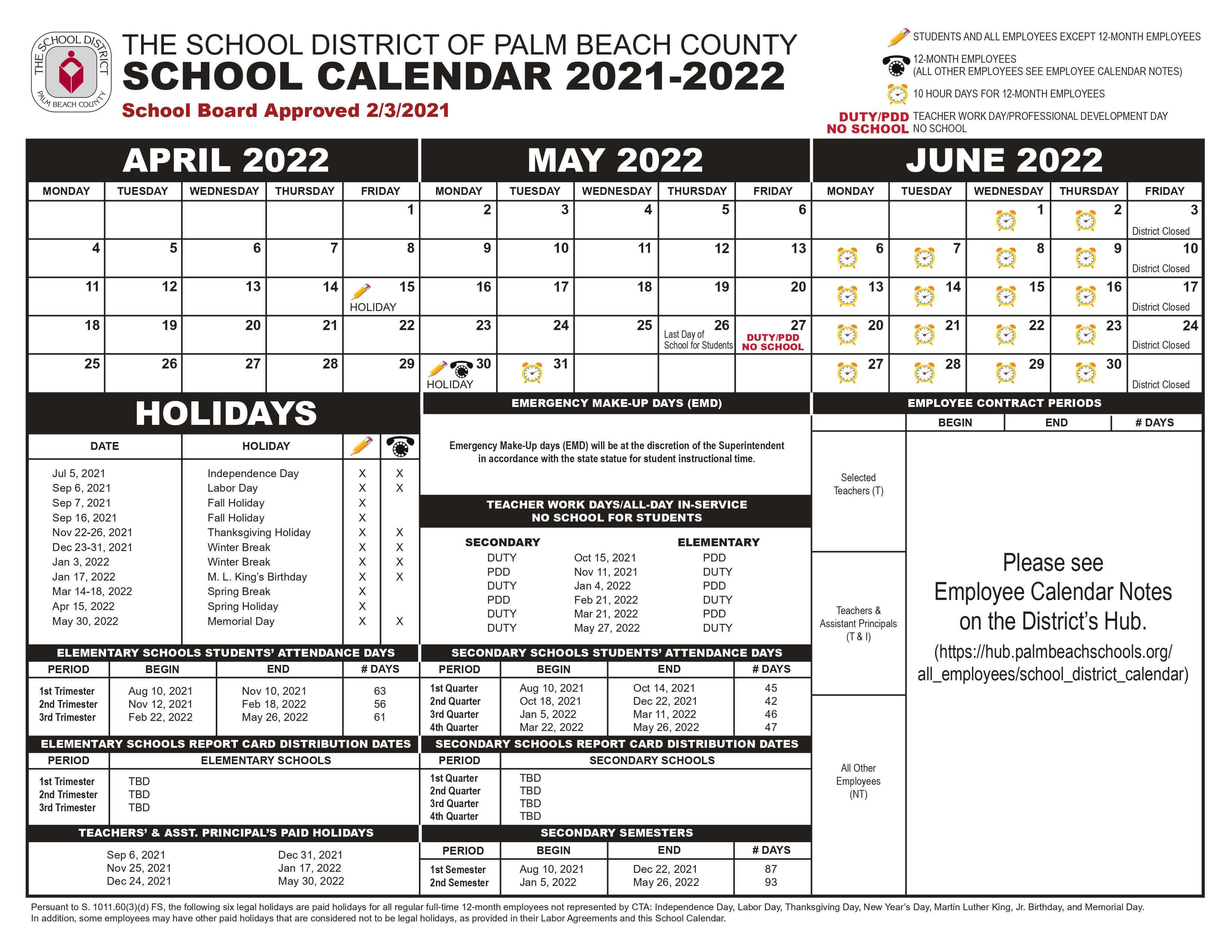 Palm Beach School Calendar July 2019 - March 2020