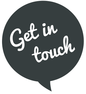 """A speech bubble with """"get in touch"""""""