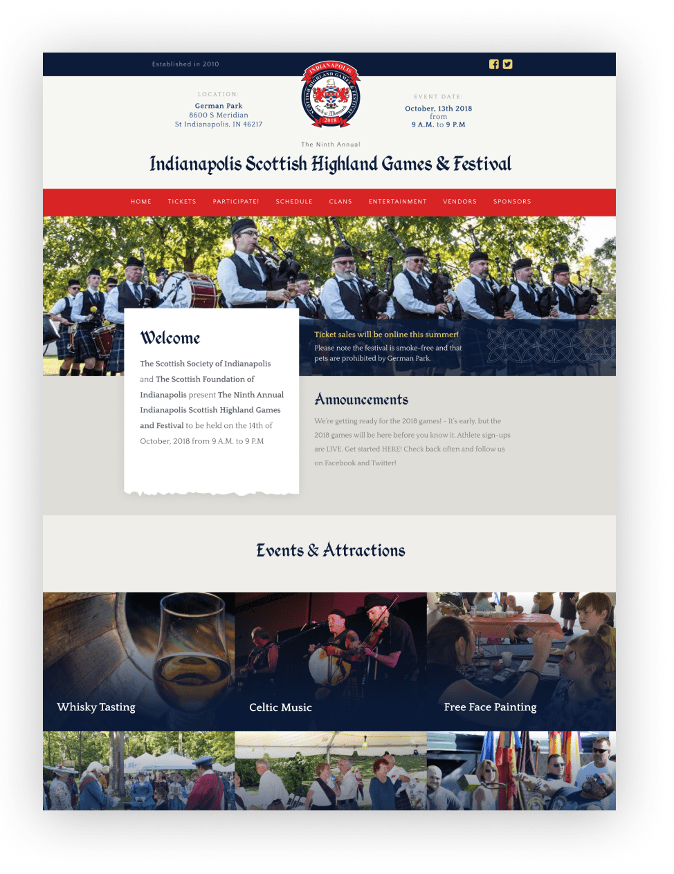 Indianapolis Scottish Highland Games & Festival Website Design