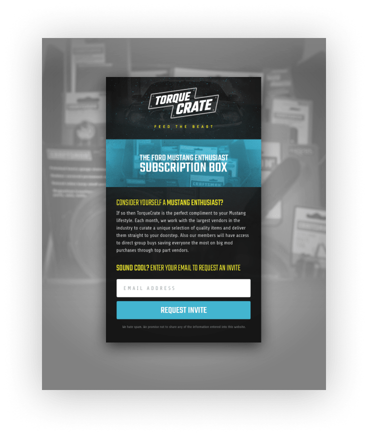 TorqueCrate Email Signup Design