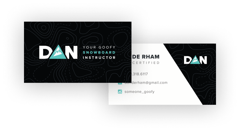 Snowboard Instructor Business Card and Logo Design