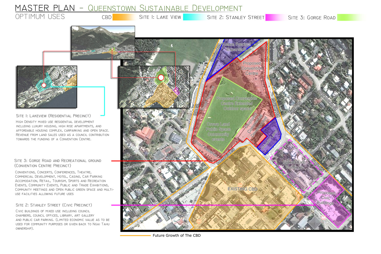 Queenstown Sustainable Development Master Plan Proposal Site Plan by Gary Todd Architecture.