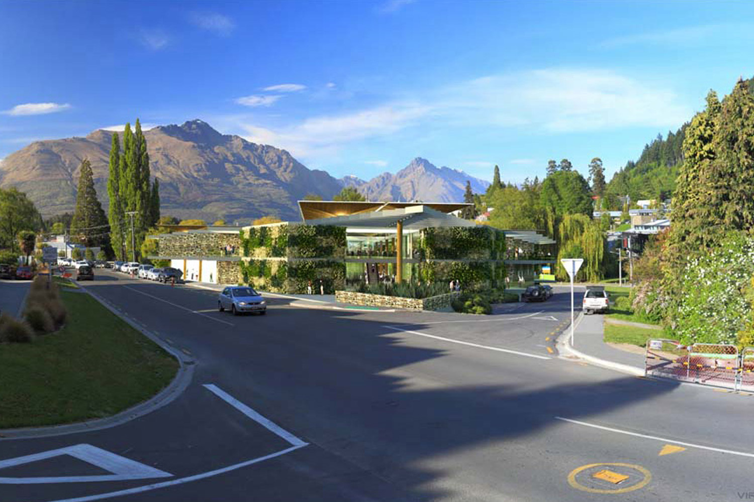 A rendered conceptual drawing of the proposed Queenstown Convention Centre by Gary Todd Architecture.