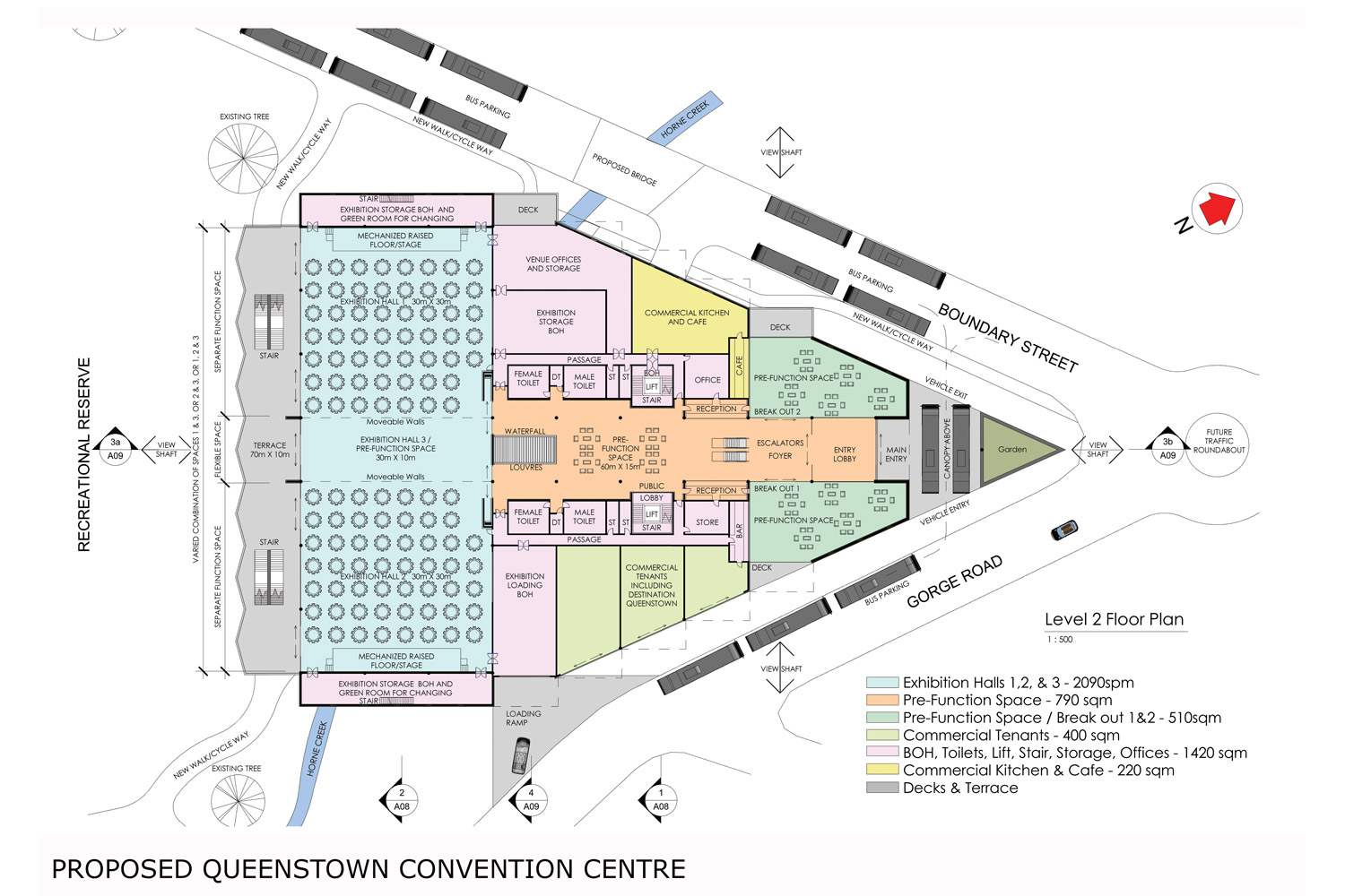A conceptual site plan of the proposed Queenstown Convention Centre by Gary Todd Architecture.