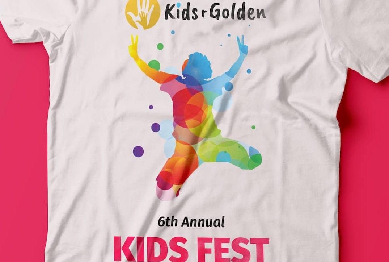 Proof print for Kids r Golden Annual Kids Fest t-shirt.