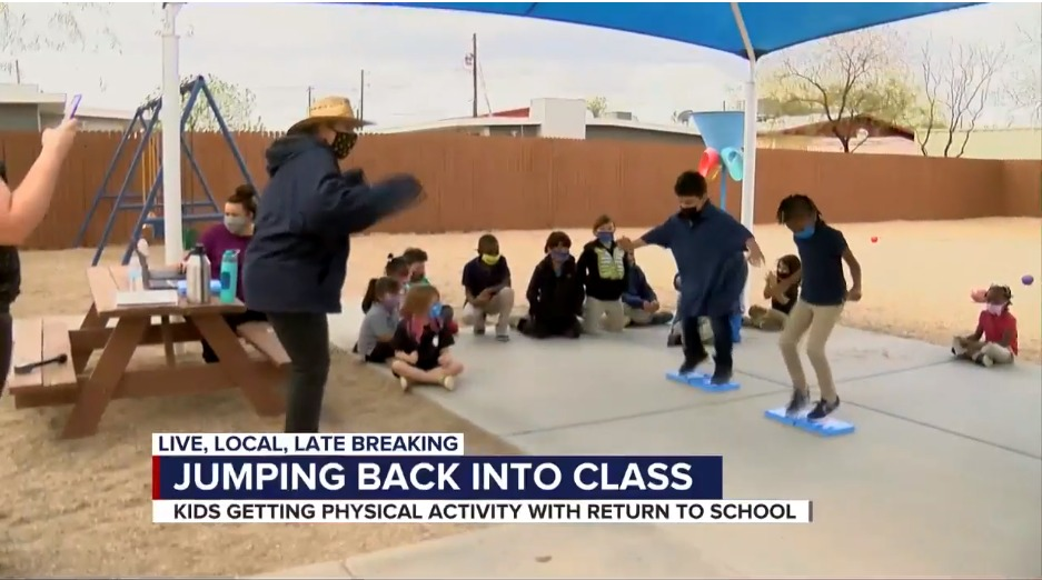 Elementary students jump back into physical education