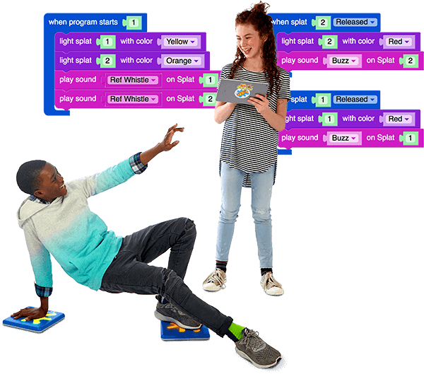 Two Kids with Code Screen Background