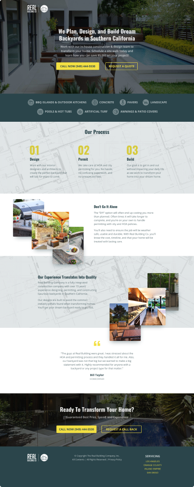 Landing page example built for client