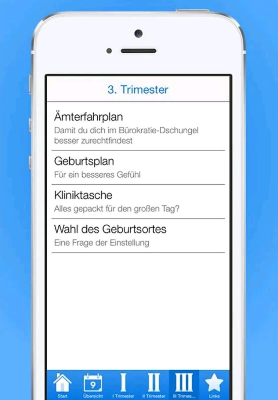 Checklisten fuer die Schwangerschaft app
