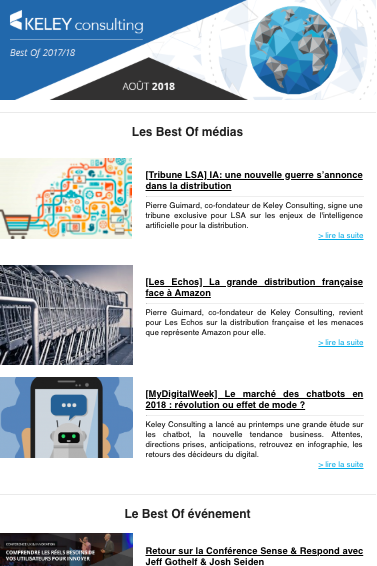 Capture de la newsletter Keley du mois d'août