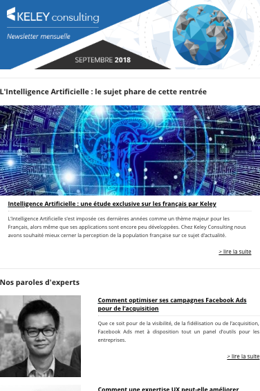 Capture de la newsletter Keley du mois de septembre