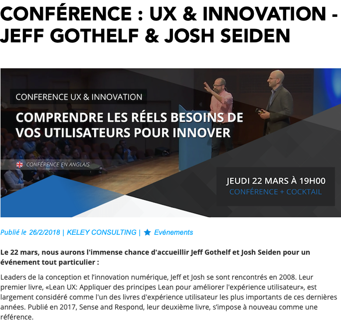 UX & Innovation : JEFF GOTHELF & JOSH SEIDEN