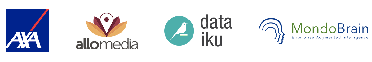 Logos de Axa, Allo-Média, Dataiku et Mondobrain, intervenant lors de l'événement IA & Assurance au Crillon