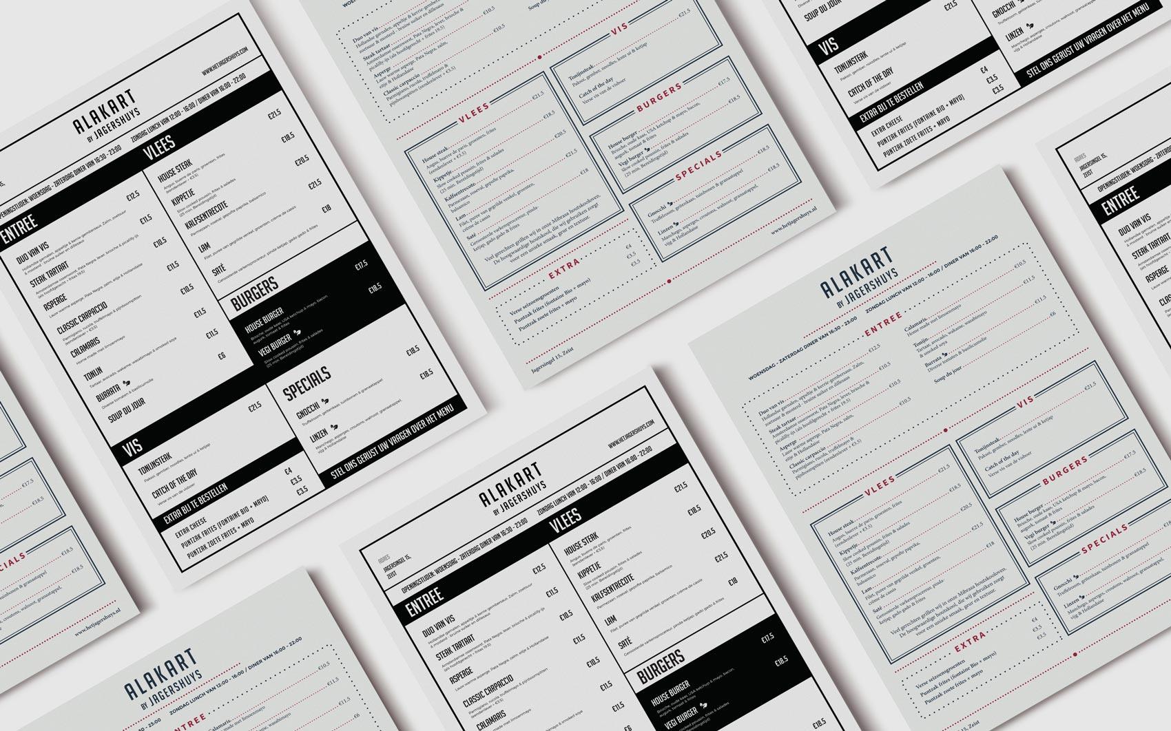 De nieuwe menu kaarten