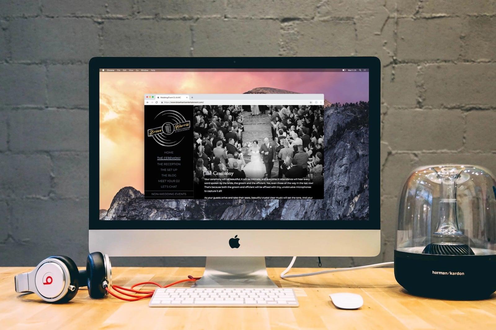 Brian Harris Entertainment dot com homepage on desktop screen.