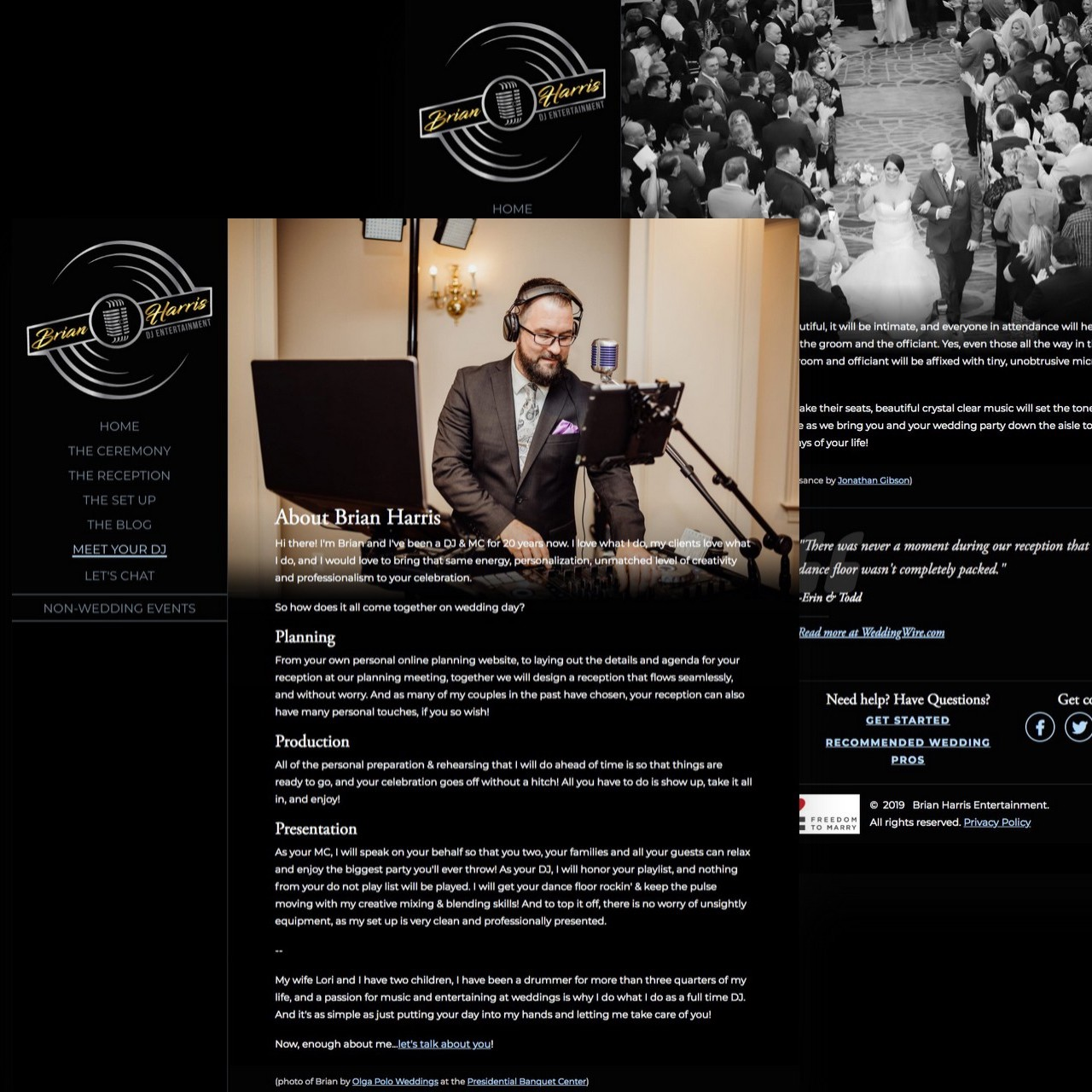 Full screens of Ceremony and About page on Brian Harris Entertainment dot com.