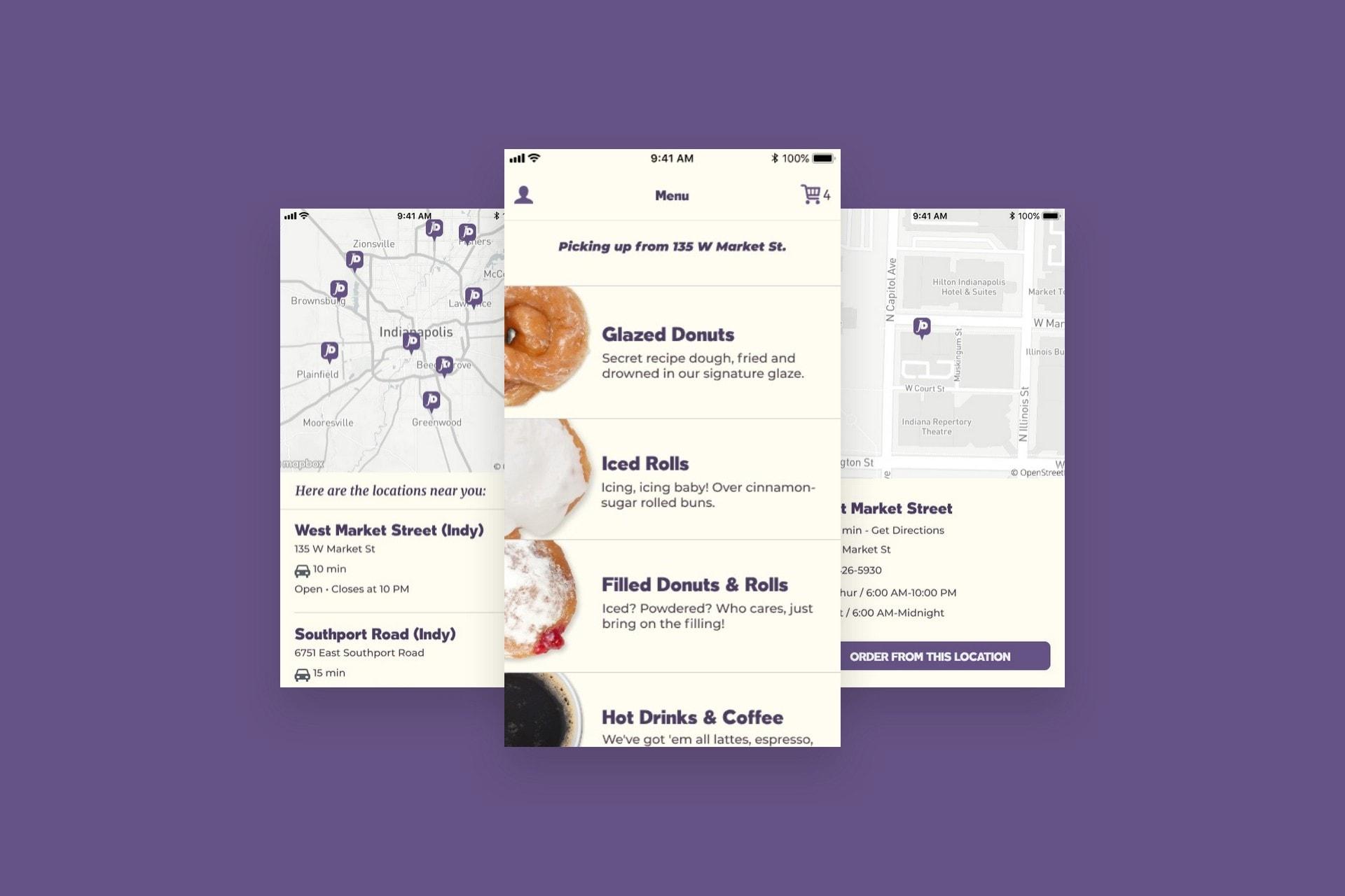 Jack's Donuts App menu screens.