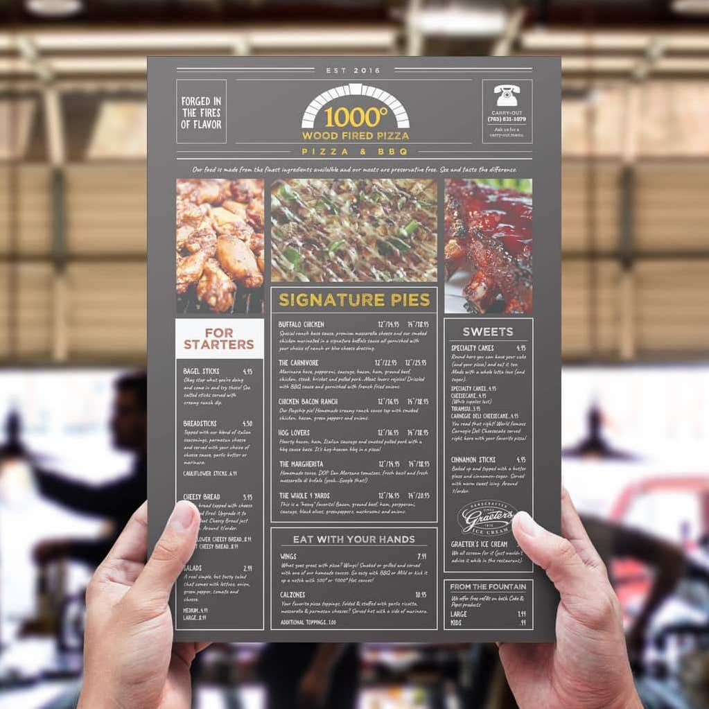 Front view of dine-in menu