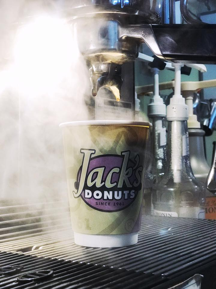 Cup of Jack's Donuts coffee.