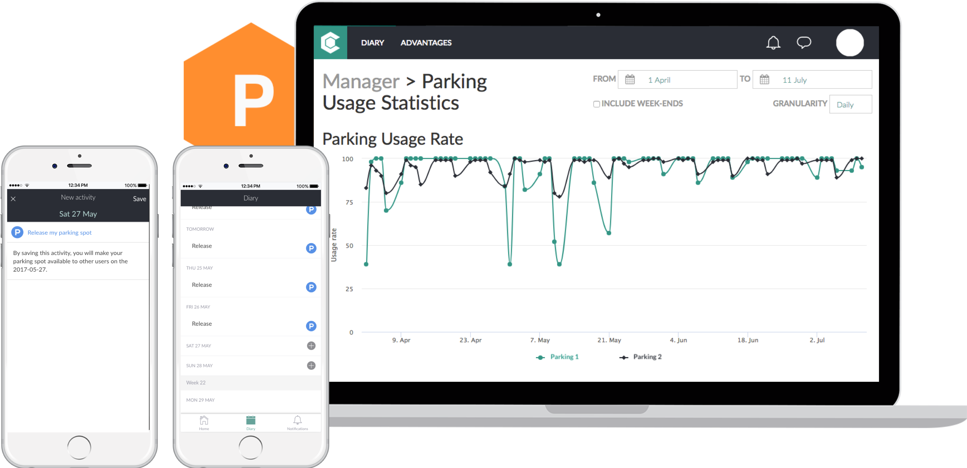 Web and mobile parking app screenshots