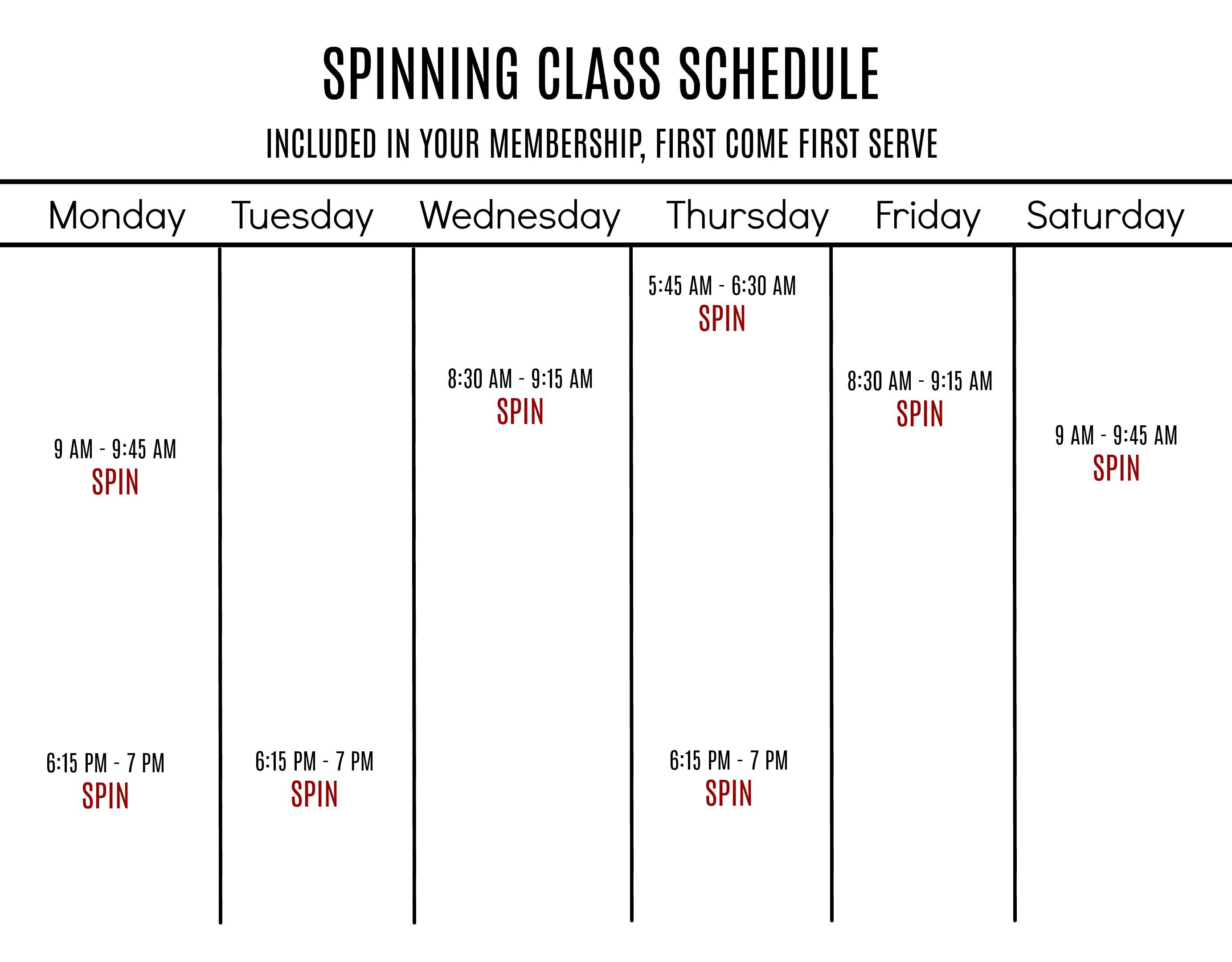 spin class schedule