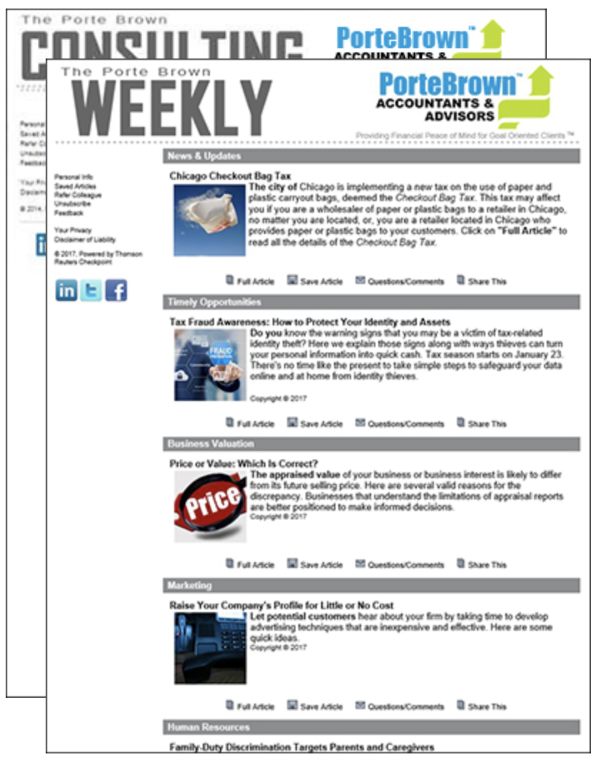 Porte Brown Weekly Newsletter