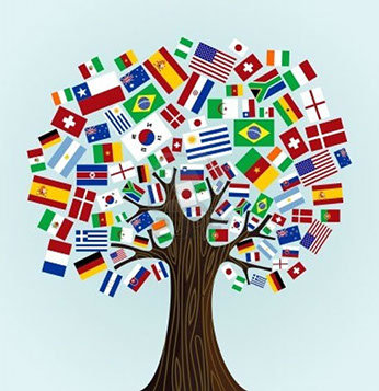 Tree with various countries' flags has its leaves