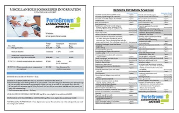 Bookkeeper Sheet and Record Retention Sheet
