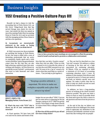 Business Insights: YES! Creating a Positive Culture Pays Off