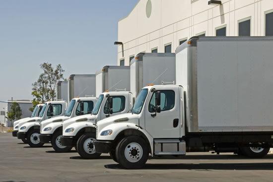 Row of semi trucks