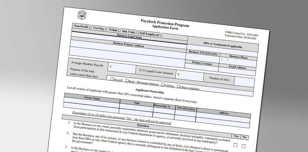 Paycheck Protection Program Application Form