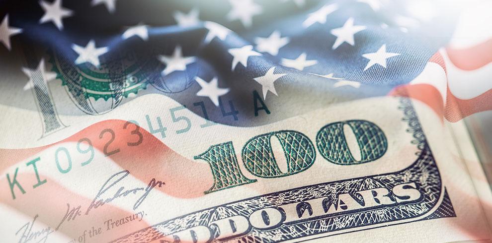 U.S. $100 on American flag