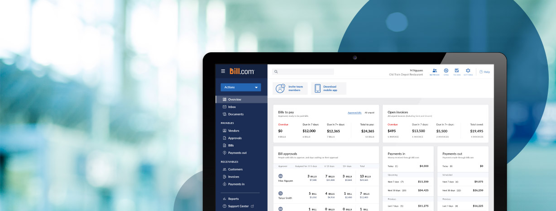 Bill.com screenshot of company dashboard