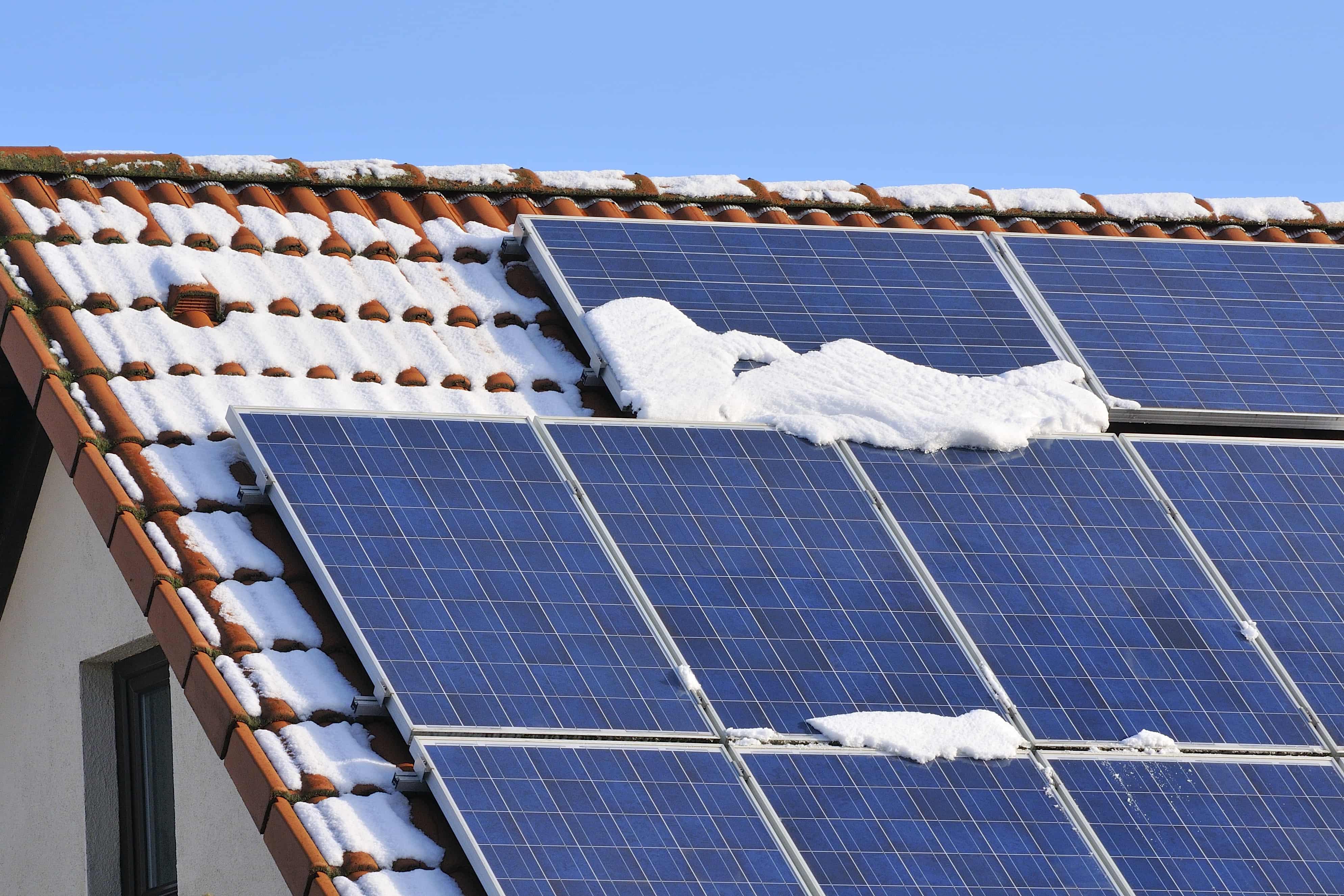 solar panels during winter
