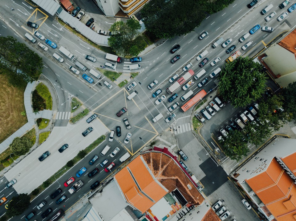 City with traffic jams from above