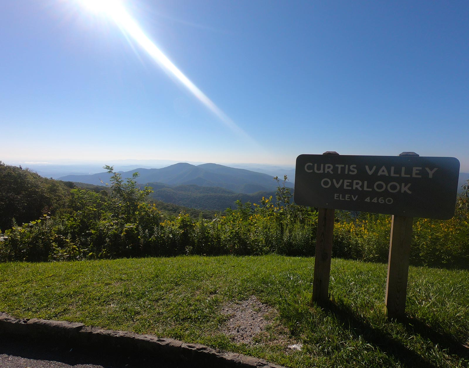 Curtis Valley Overlook sign on the Blue Ridge Parkway