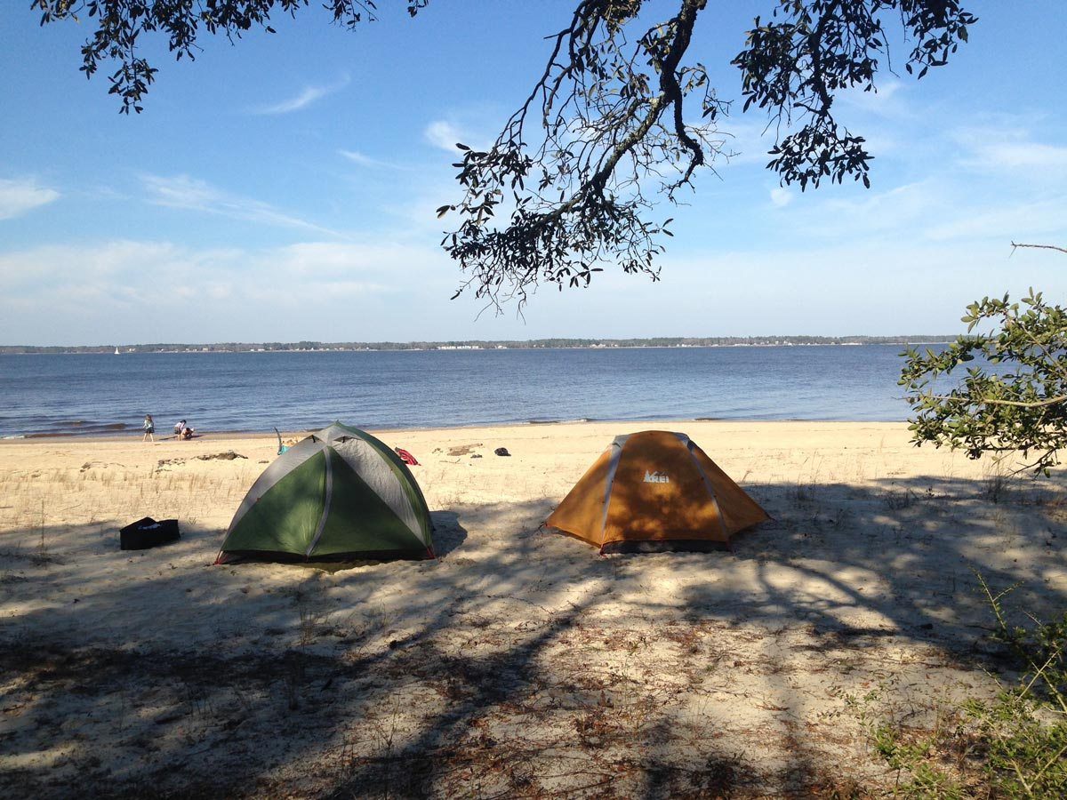 Two REI tents on the beach at Croatan National Forest
