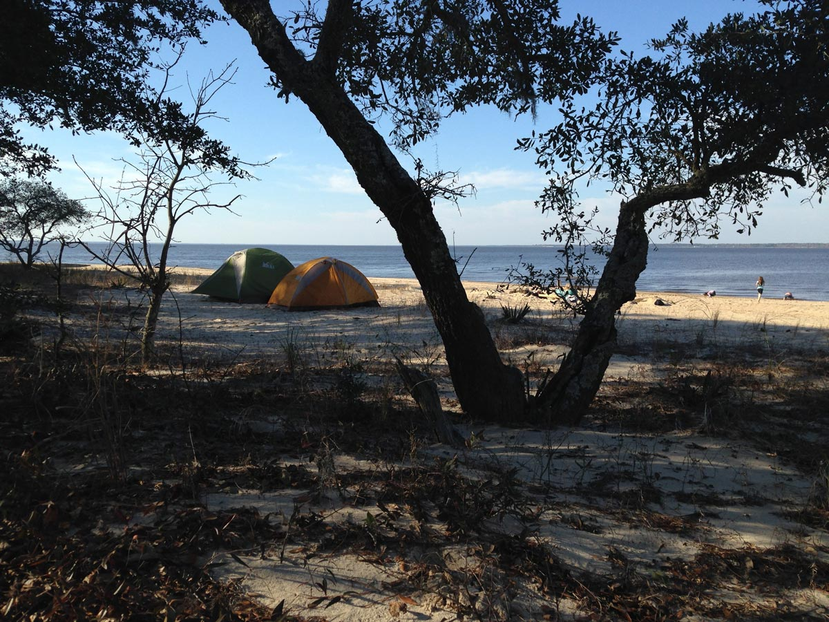 Two tents on the beach at Croatan National Forest