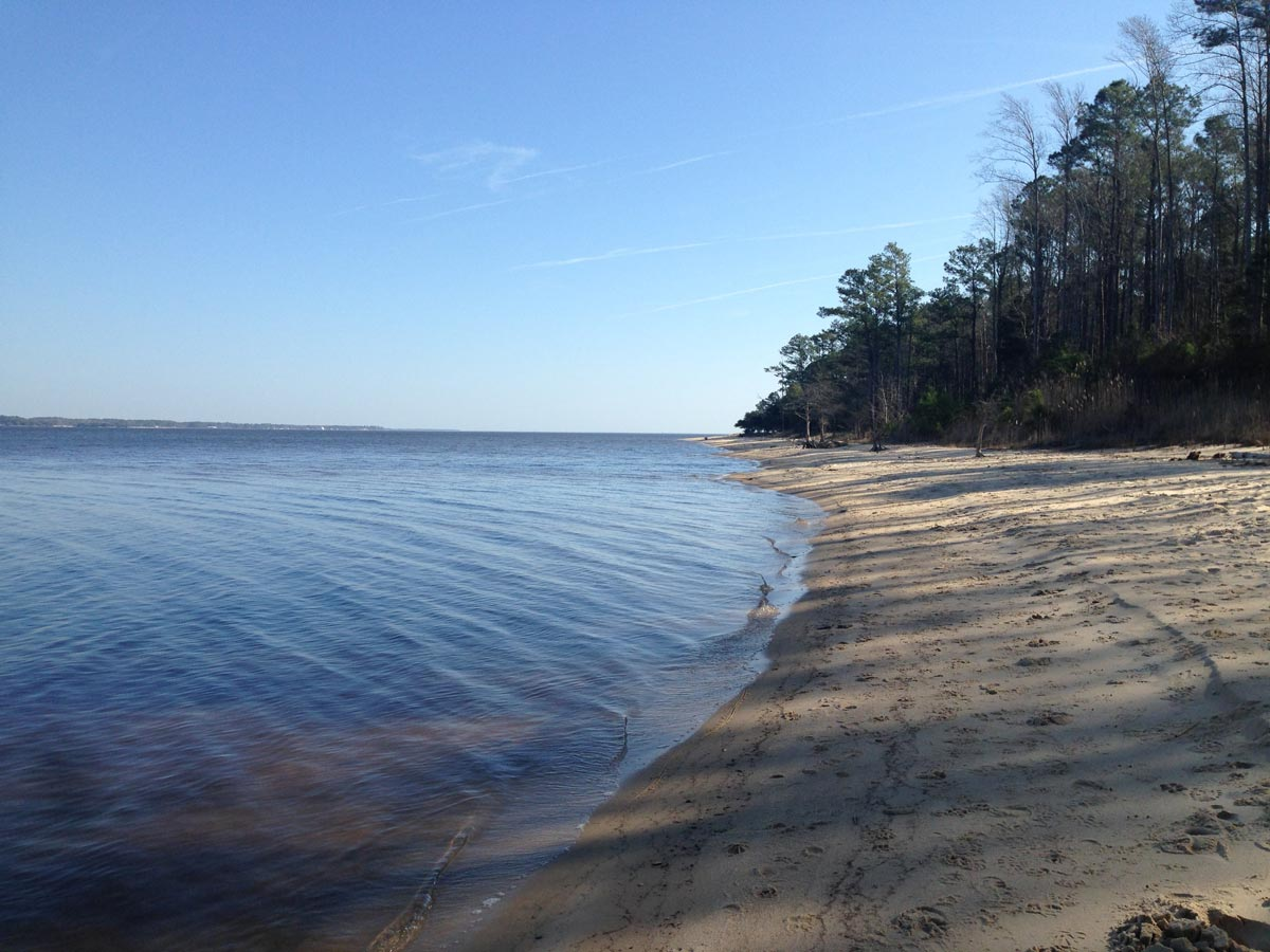 Empty beach at Croatan National Forest in evening