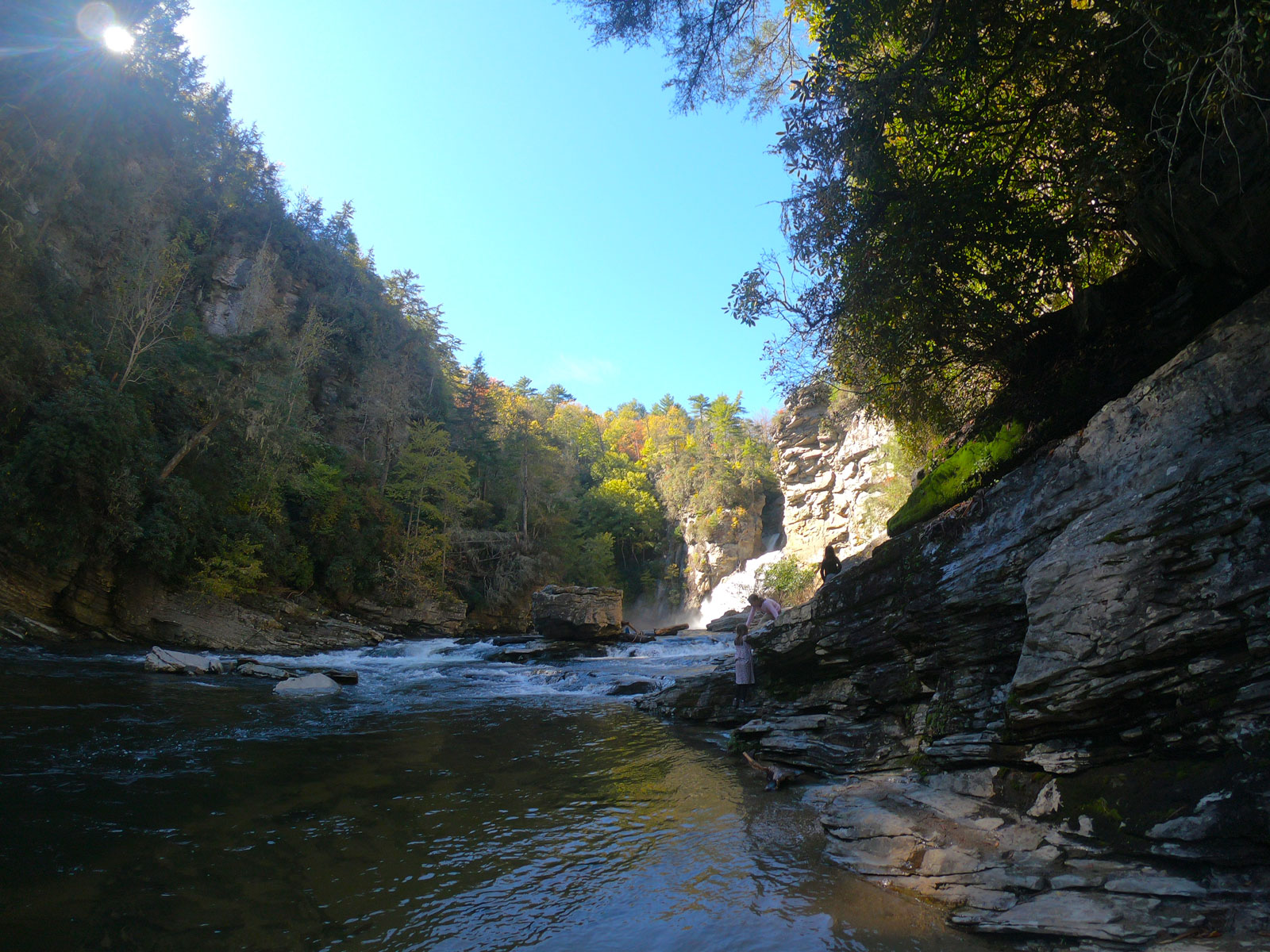 View of Linville Falls from the bottom in Blue Ridge Mountains