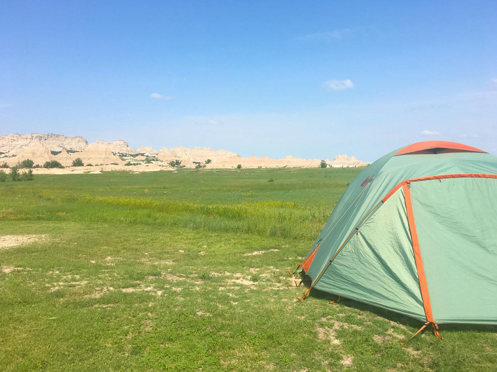 REI Basecamp 6 tent at Cedar Pass Campground in Badlands National Park, South Dakota