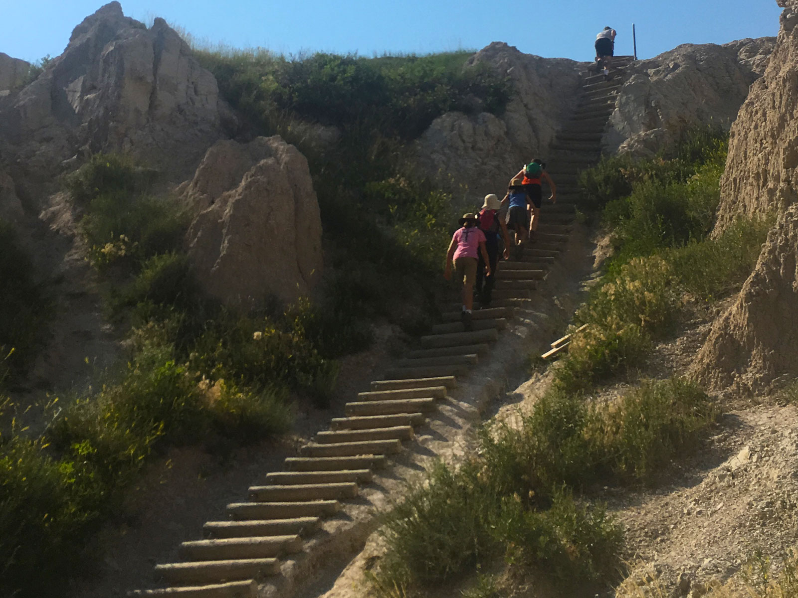 Family climbing up the log ladder on the Notch Trail in the Badlands National Park in South Dakota