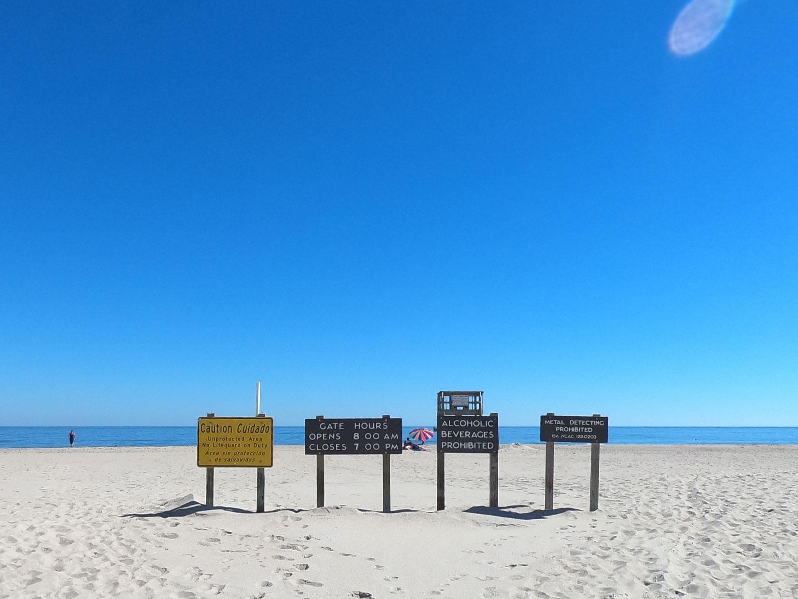 Signs at Kure Beach in North Carolina