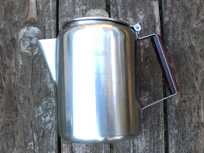 Photo of a camping coffee percolator style coffee pot