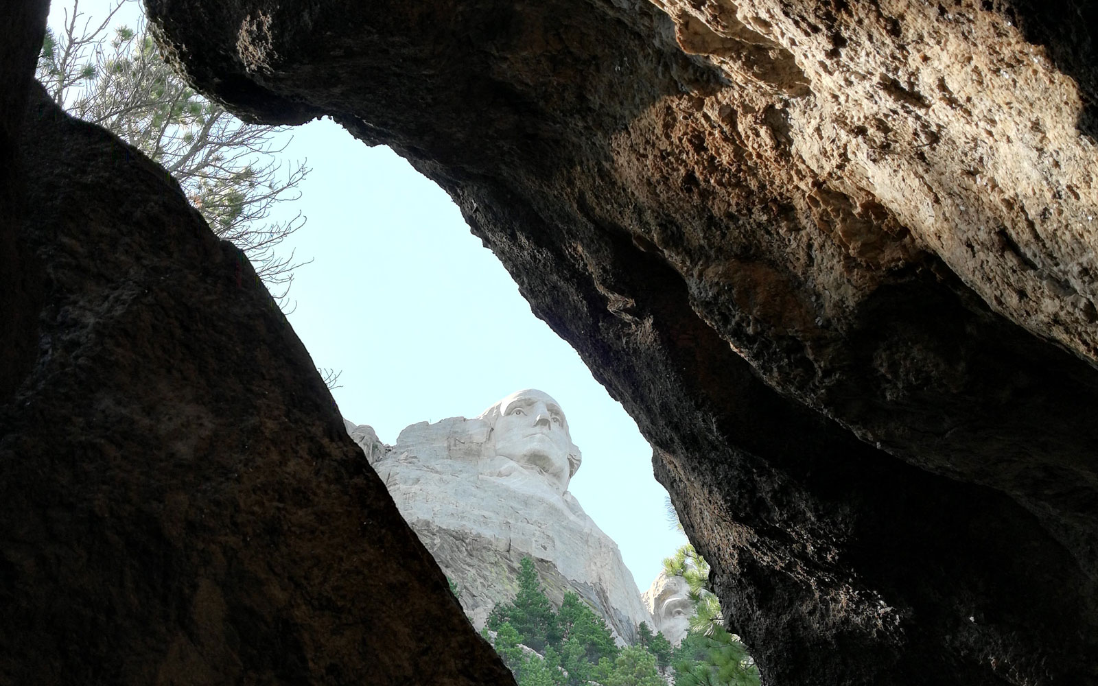 Photo of George Washington carving between two stone walls at Mount Rushmore in South Dakota