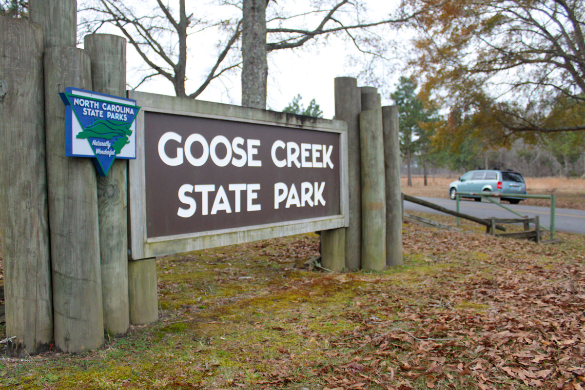 North Carolina State Park entry sign to the Goose Creek State Park, North Carolina, on a November day